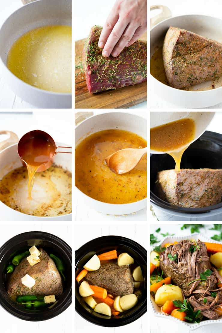 Step by step photos for making the best slow cooker beef stew