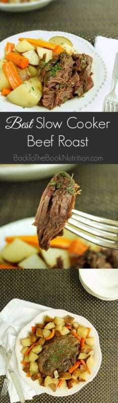 The Best Slow Cooker Beef Roast Ever - a healthier take on the famous Mississippi Roast with only 4 real food ingredients - no soup mix packets or canned broths. Perfect comfort food dinner! | Back To The Book Nutrition