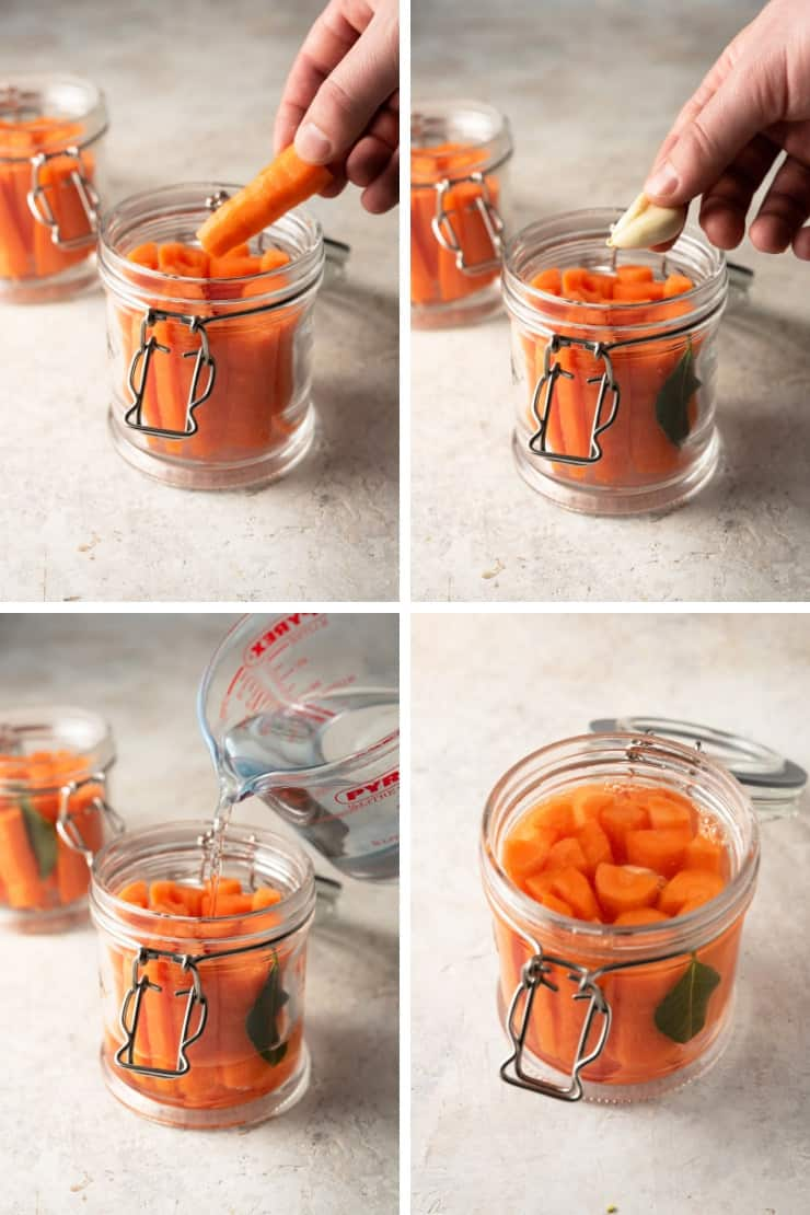 Step by step photos for making probiotic fermented carrots