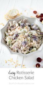 overheat shot of rotisserie chicken salad in serving bowl on white background