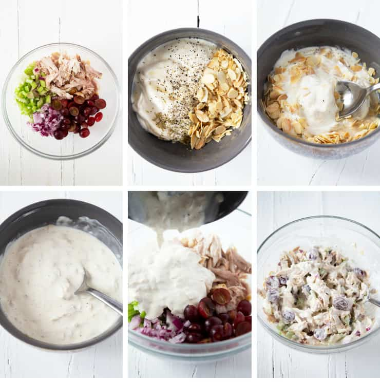 Step by step photo for how to make a rotisserie chicken salad