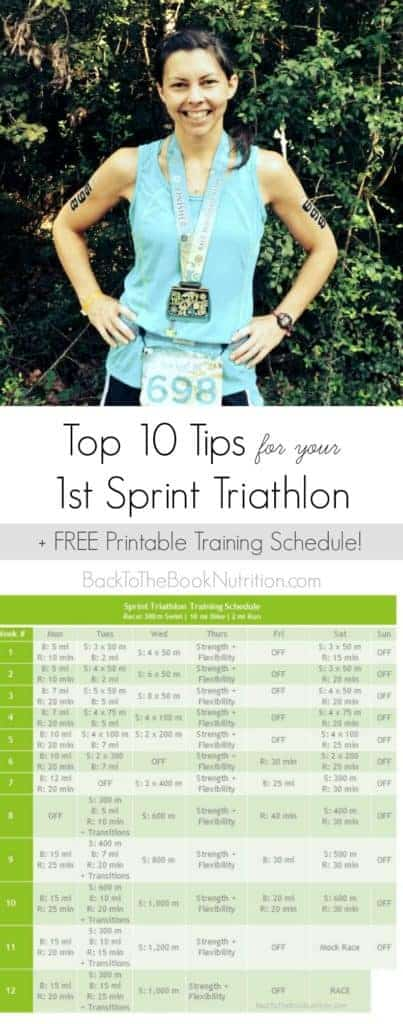Top 10 Tips + FREE printable Sprint Triathlon training schedule | Back To The Book Nutrition