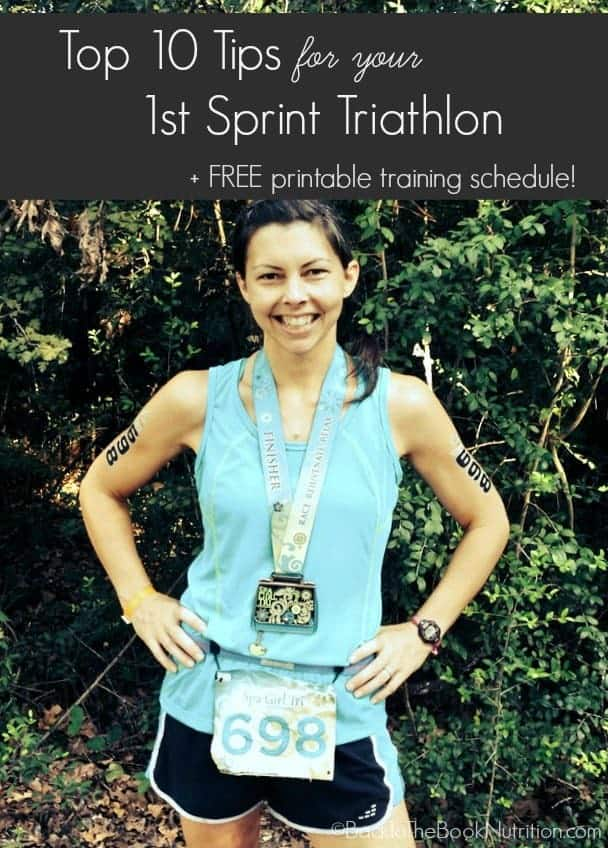 Top 10 Tips for your first Sprint Triathlon and FREE Printable Training Schedule | Back To The Book Nutrition