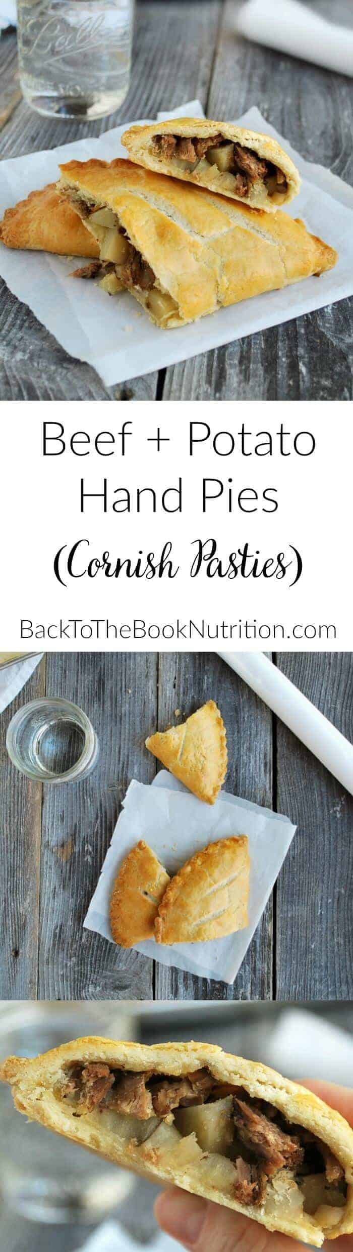 Pot roast meets flaky pie pastry in these beef and potato hand pies! Classic, British inspired comfort food! | Back To The Book Nutrition