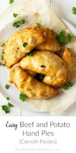 easy beef and potato hand pies on plate with parsley garnish