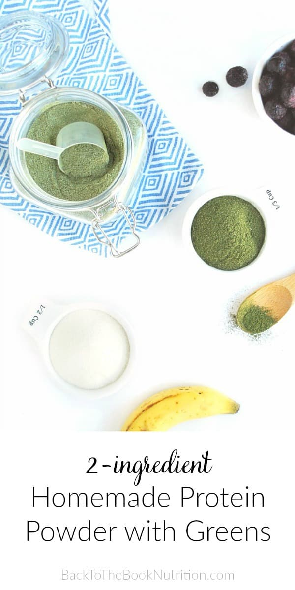 overhead shot of ingredients for simple homemade protein powder plus greens