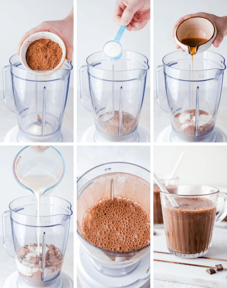Step by step photos for making healthy chocolate milk