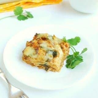 Rotisserie Chicken + Spinach Enchilada Casserole (Gluten Free)