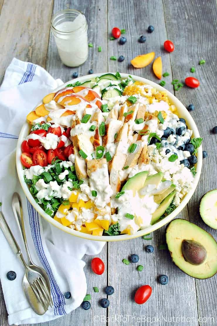 Antioxidant loaded superfood salad loaded with 7 veggies, 3 fruits, chicken, and blue cheese - healthy, 30 minute summer dinner! | Back To The Book Nutrition