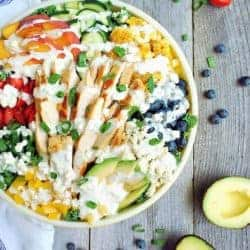 Summer Superfood Salad with Blue Cheese and Chicken - kale, corn, avocado and peaches + the best homemade blue cheese dressing ever! | Back To The Book Nutrition