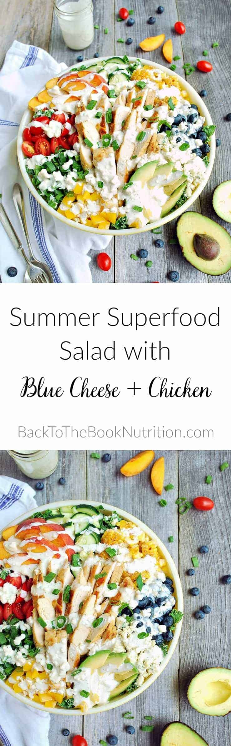 Summer Superfood Salad with blue cheese and chicken - 7 veggies + 3 fruits for antioxidants, fiber, and healthy fats. Healthy summer lunch or dinner, ready in just 30 minutes! | Back To The Book Nutrition