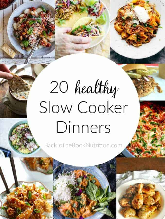 20 Healthy Slow Cooker Dinners - amazing round up of simple beef, chicken, and pork recipes made with minimally processed ingredients! | Back To The Book Nutrition