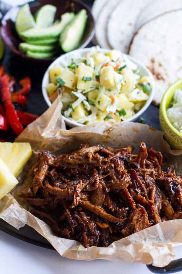 20 Healthy Slow Cooker Dinners - Slow Cooker Hawaiian Hula Pork Fajitas with Pineapple Slaw and Coconut Rice from Half Baked Harvest