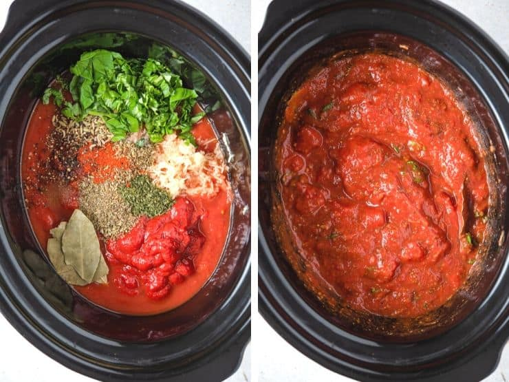Two photos showing ingredients in a slow cooker for making spaghetti sauce