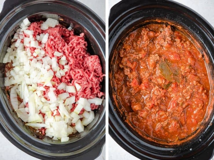 Two photos showing how to make slow cooker spaghetti sauce