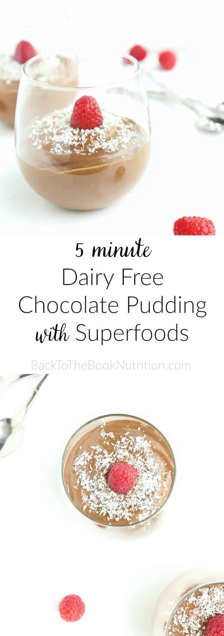 5 minute Dairy Free Chocolate Pudding with superfoods! Refined sugar free, gluten free, peanut free, full of rich chocolate flavor! | Back To The Book Nutrition