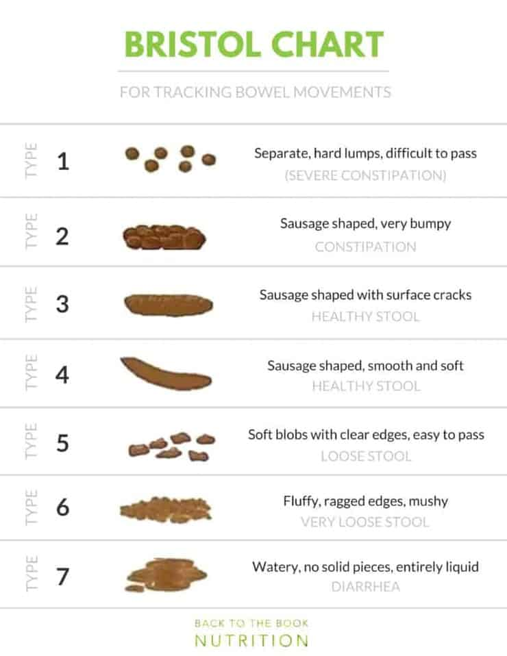 Bristol Chart for tracking bowel movements | Back To The Book Nutrition
