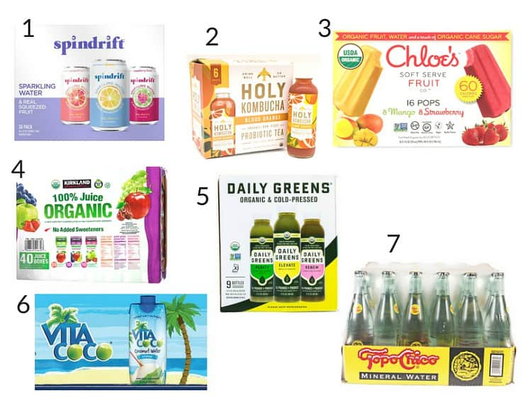 collage of healthy drinks and frozen treats from Costco