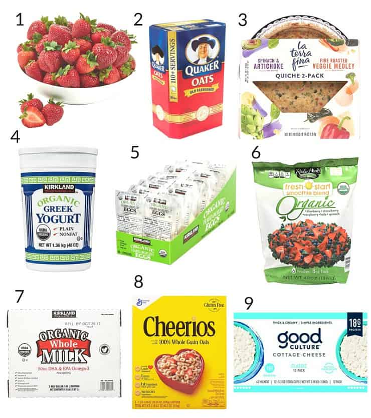 collage of healthy prepared breakfast foods from Costco