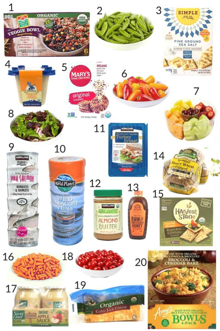 Collage of healthy prepared lunch foods from Costco