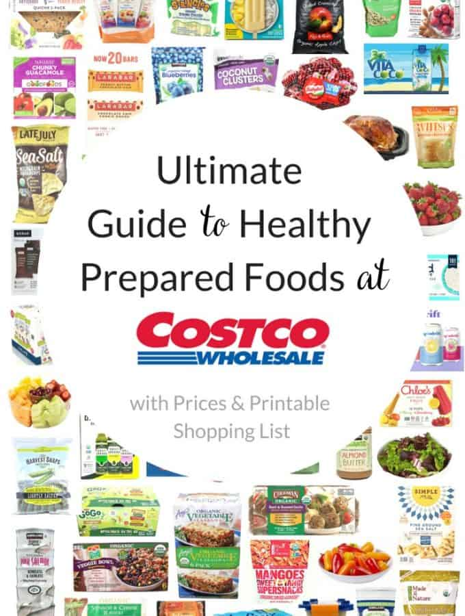 collage of healthy prepared foods at Costco