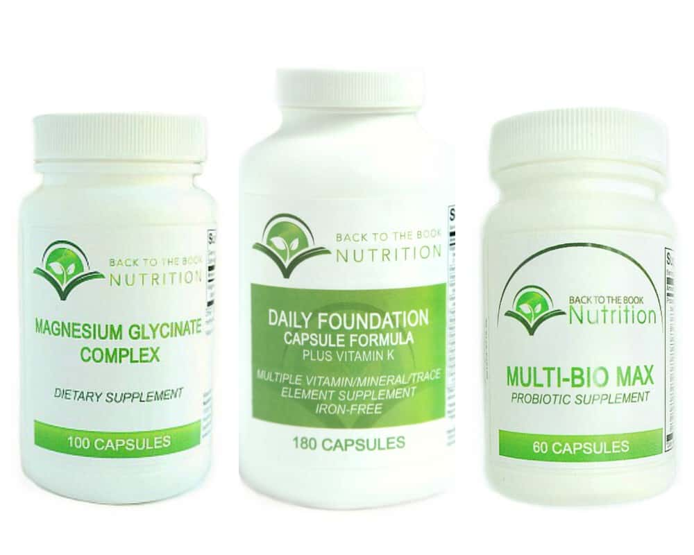 three bottles of dietary supplements from Back To The Book Nutrition