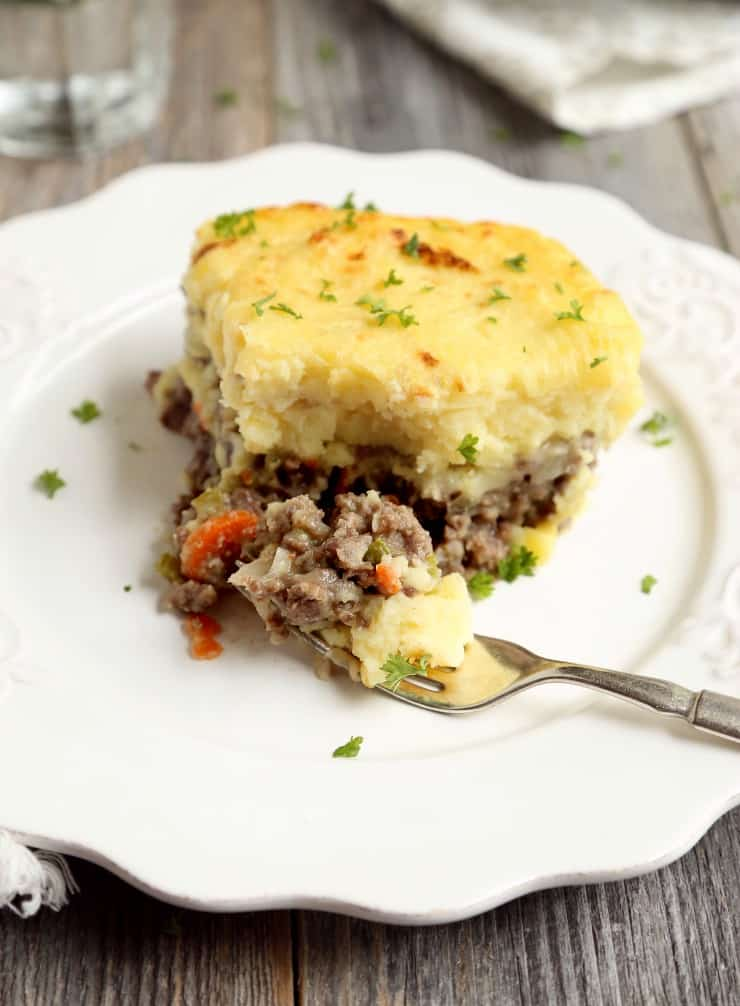 front view of cottage pie on fork