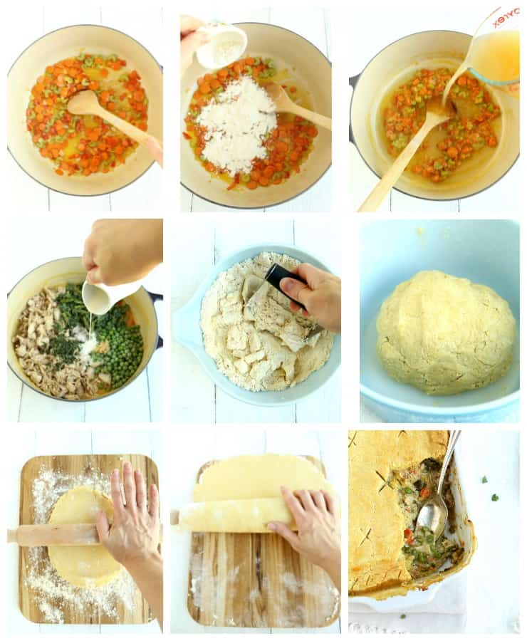 Collage with step by step images for how to make rustic turkey pot pie
