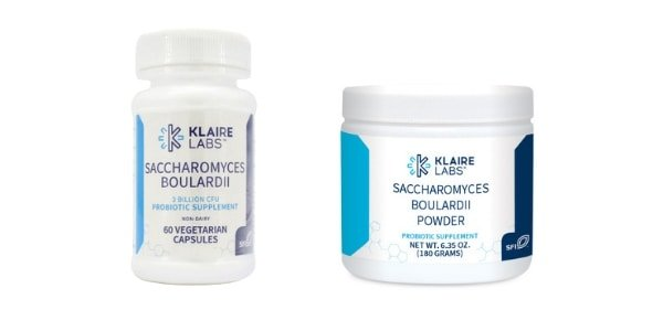 collage of two best brand of beneficial yeast probiotics - Klaire labs saccharomyces boulardii powder and capsules