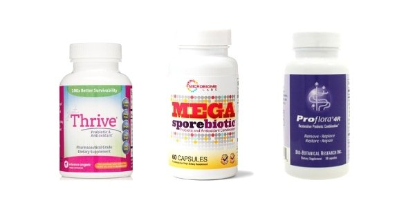 collage of 3 best brands of spore forming probiotics - MegasporeBiotic, Just Thrive, and Proflora $R