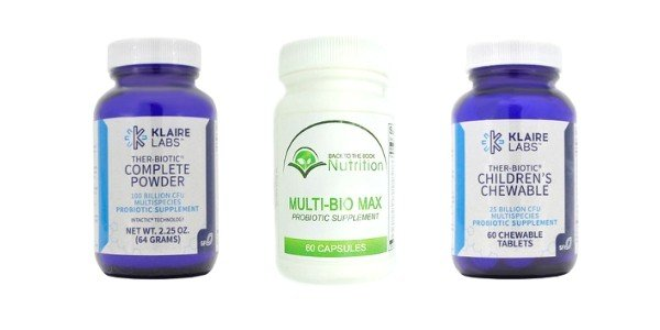 collage of 3 best brands of traditional probiotics - Multi-Bio Max and Klaire Labs Ther-Biotic Complete Powder and Capsules