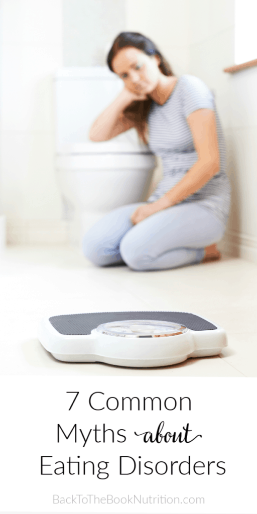 """Collage with image of young woman on bathroom floor near scale and title text """"7 Common Myths About Eating Disorders"""""""