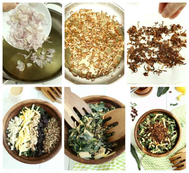 Collage of 6 steps to make Kale and Brussels Sprouts Super Salad