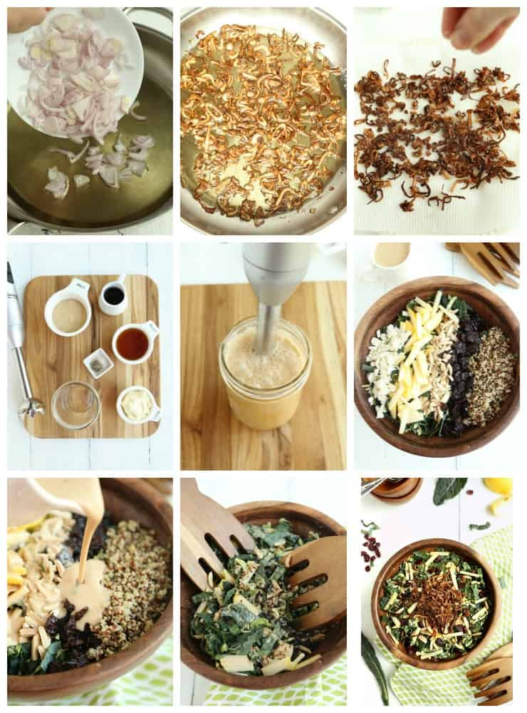 collage of step by step images for making kale and Brussels sprouts super salad