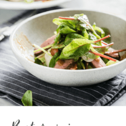 collage of mixed green salad with steak and text overlay: Best Autoimmune Diet and Lifestyle Tips