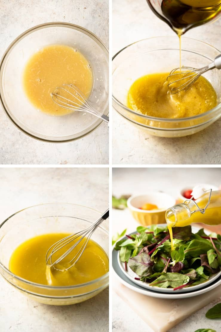Step by step photos for making easy greek dressing