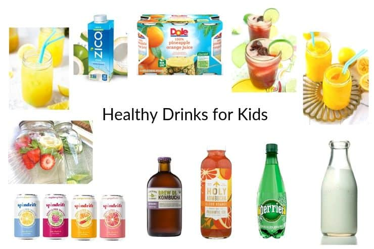 Collage of healthy drinks for kids