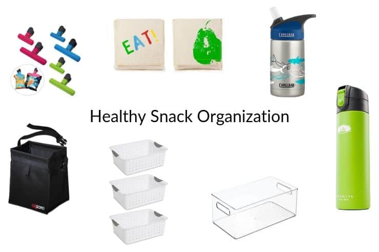 Collage of healthy snack organization gear