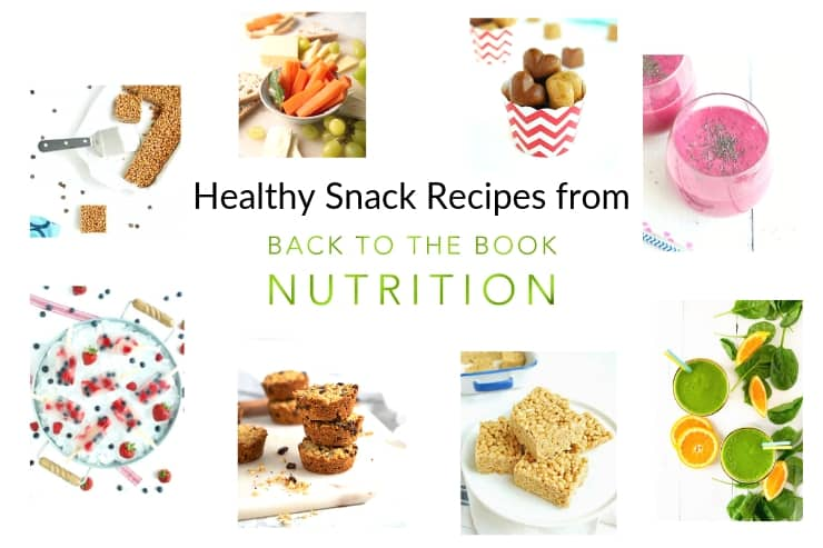 Collage of healthy snack recipes from Back To The Book Nutrition