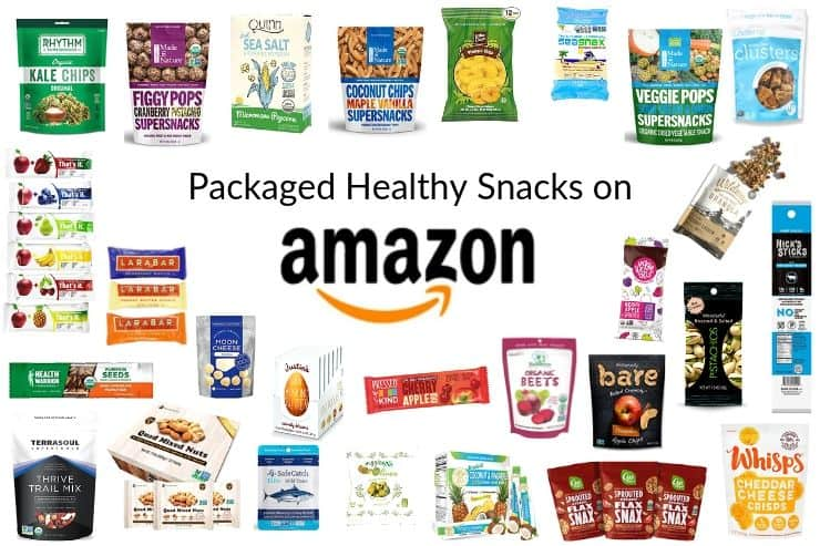 Collage of packaged healthy snacks for kids on Amazon