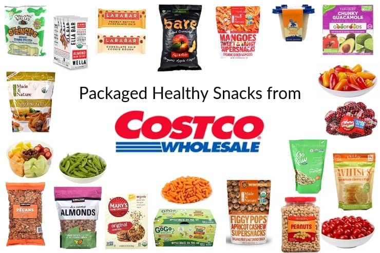 Collage of packaged healthy snacks from Costco
