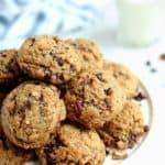 Salted Chocolate Chunk Cookies with Toasted Pecan Flour (Gluten free, dairy free)