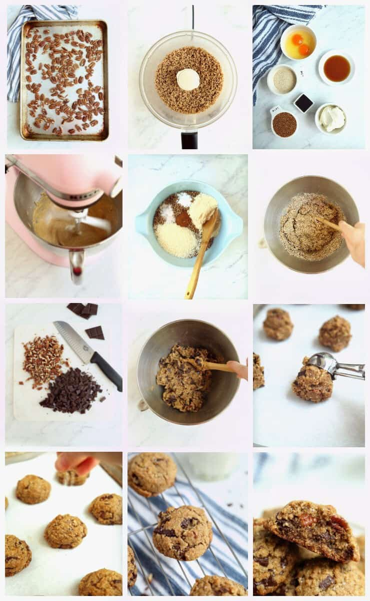 Collage of step by step instructions for making salted chocolate chunk cookies with toasted pecan flour