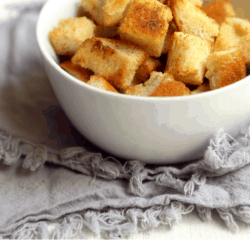 collage image of easy homemade croutons with garlic butter and text overlay with recipe name