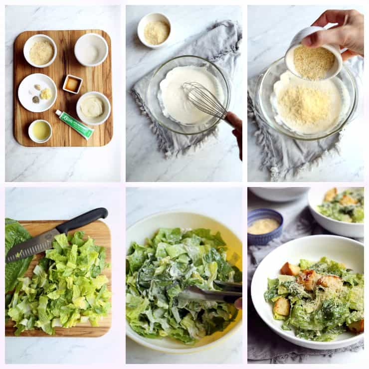 Collage of six images with step by step demonstration for how to make Classic Caesar Salad