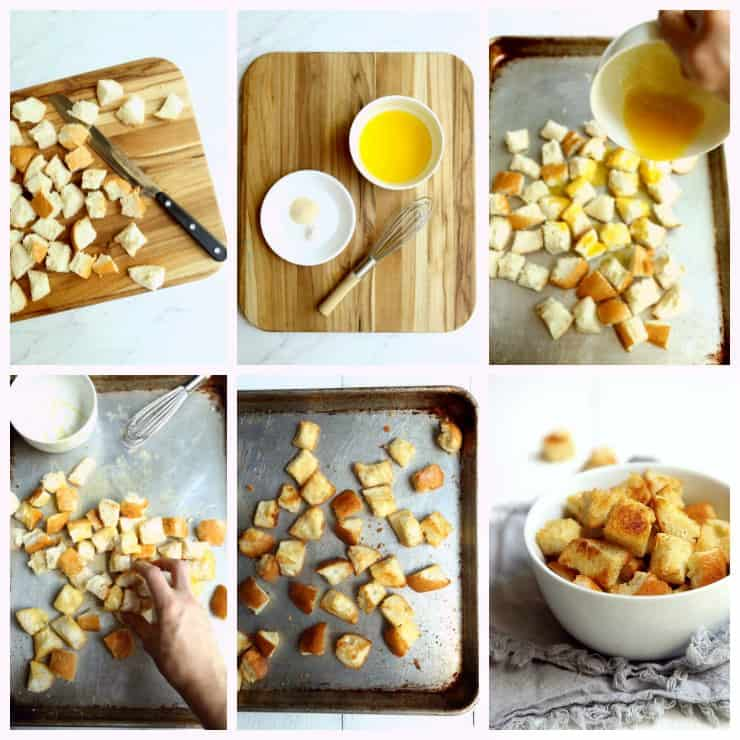 collage of six images with step by step instructions for how to make easy homemade croutons