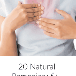 Collage of woman holding her chest with heartburn pain, and text overlay: 20 Natural Remedies for Heartburn, Reflux, and GERD