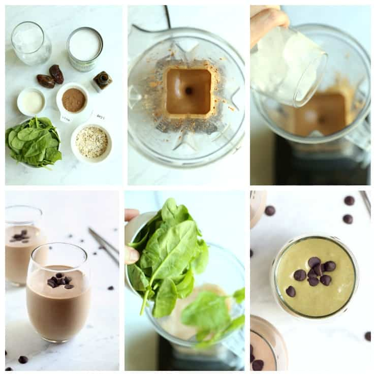 Collage of 6 images - How to make chocolate protein shake, step by step