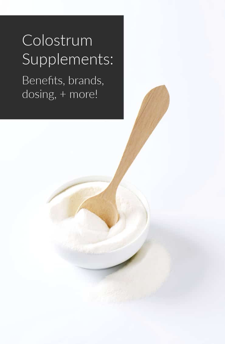 bowl of colostrum powder with small wooden spoon and article title text overlay