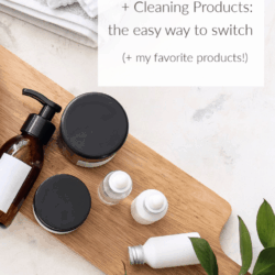 overhead shot of natural skin care products on marble countertop with text overlay: Natural Skin Care and Cleaning Products: the easy way to switch